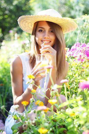 Beautiful girl drinking juice Stock Photo - 7511463