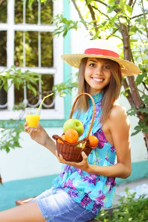 Beautiful girl in the country photo
