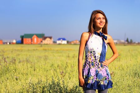 Beautiful girl in a field Stock Photo - 7511459