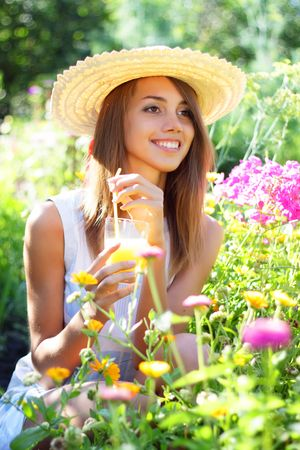 Beautiful girl drinking juice Stock Photo - 7511464