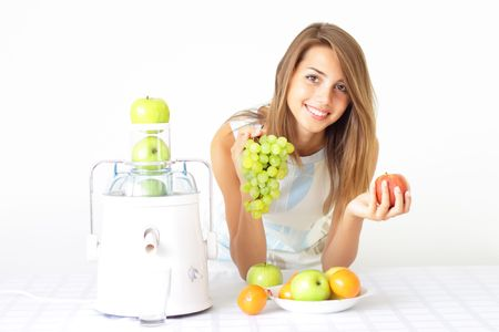 Happy girl about juicers Stock Photo - 7529013