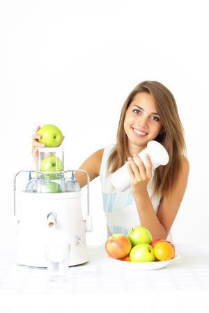 Happy girl about juicers Stock Photo - 7544303