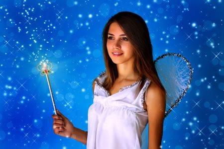 angel alone: Girl dressed as an angel Stock Photo