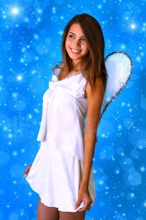 Girl dressed as an angel photo