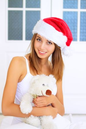 Beautiful girl in the hat of Santa Claus Stock Photo - 7706821