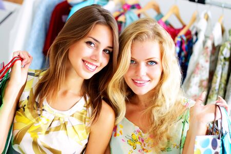 Two beautiful girls out shopping Stock Photo - 7706836