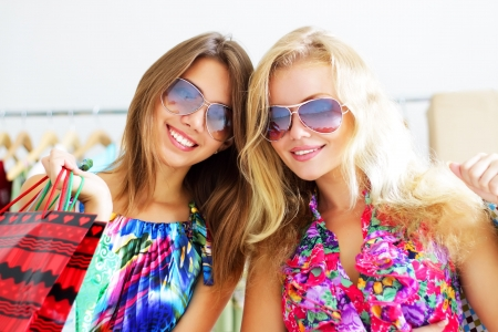 Two beautiful girls out shopping Stock Photo