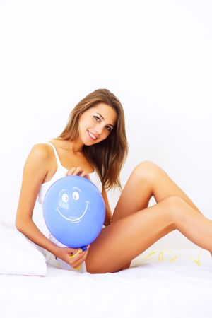 Beautiful girl holding a balloon photo