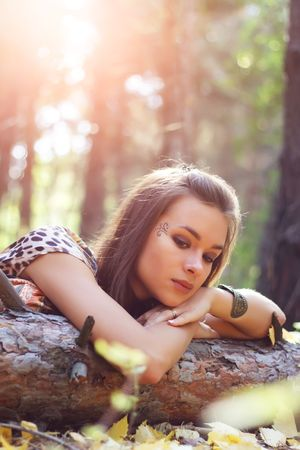 An attractive girl on the nature Stock Photo - 7706848