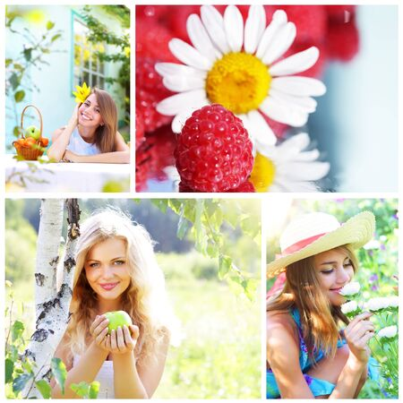only 1 girl: Collage on theme of the summer Stock Photo