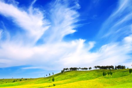 Hills and blue sky photo