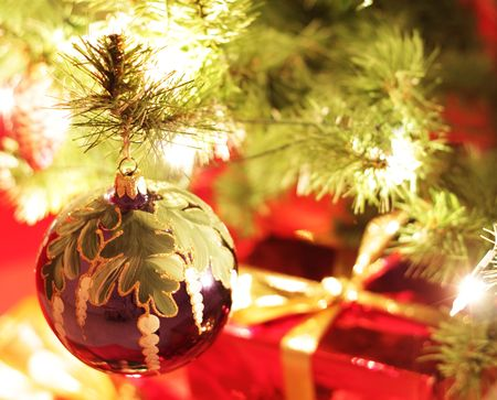 hung: Christmas decorations. The ball hung on the tree Stock Photo