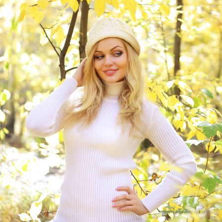 attractive girl in the autumn forest photo