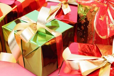 Several multi-colored gift boxes photo