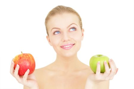 Beautiful girl holding apples isolated on a white background Stock Photo - 8192955