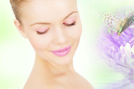Collage. Beautiful girl near the purple chrysanthemum photo
