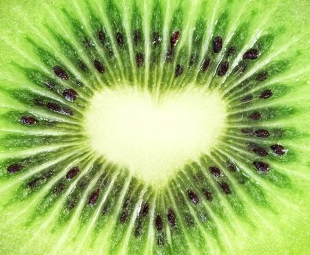 Kiwi fruit close-up. Heart shape Stock Photo - 8345528
