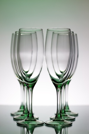 Champagne Glasses on a light background photo