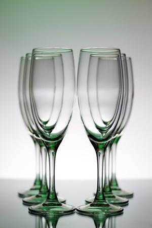 stemware: Champagne Glasses on a light background