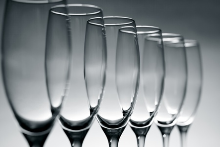 ware: Empty champagne glasses on gray background