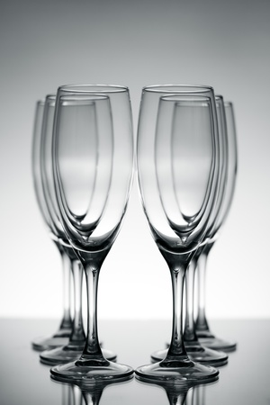 Empty champagne glasses on gray background Stock Photo - 8534736