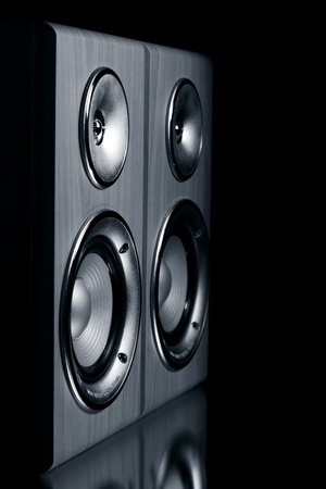 musik: Two speaker systems on a black background Stock Photo