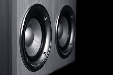 speakers: Two speaker systems on a black background Stock Photo