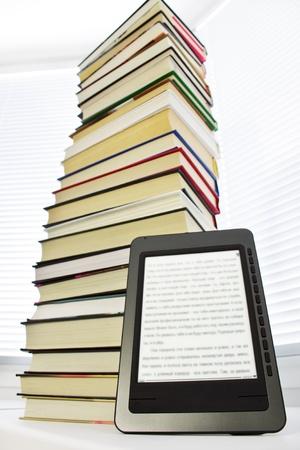 e book: Ebook reader on a light background window