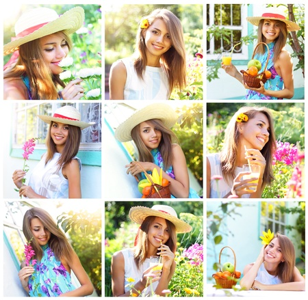 flower photos: Summer Collage. Beautiful girl in the garden Stock Photo