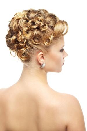 Modern wedding hairstyle. Isolated on white photo