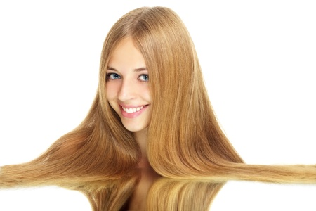 Girl with beauty long hair isolated on white photo
