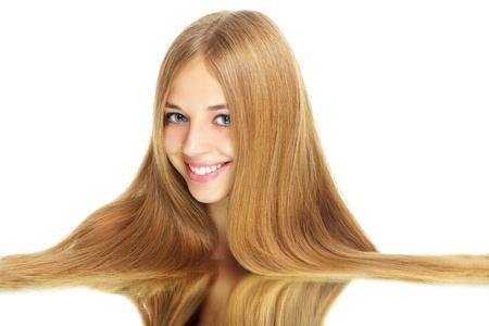 Ragazza con i capelli lunghi bellezza isolata on white Archivio Fotografico - 10317348
