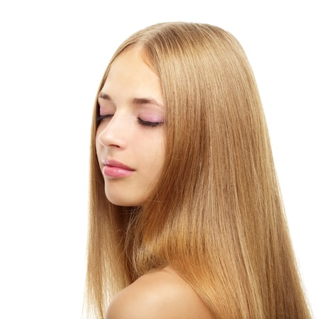 Hübsches Mädchen mit langem Haar, isoliert auf weiss Standard-Bild - 10317343