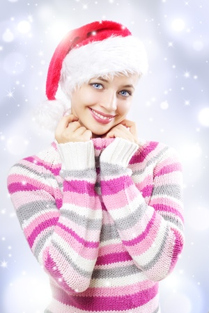 Santa girl on a light background photo