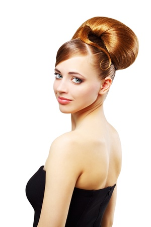 Beautiful girl with retro hairstyle isolated on white background photo