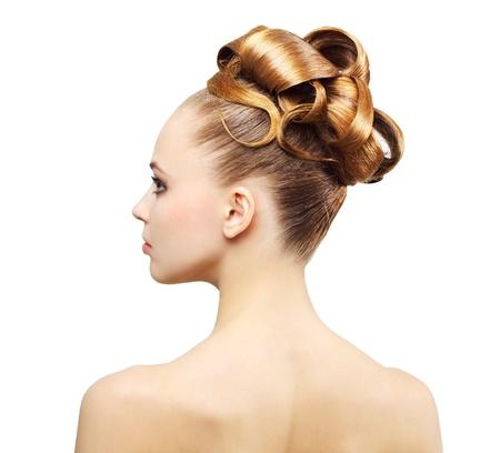 hochzeitsfrisur: Kreative Frisur isoliert auf wei�em Hintergrund Lizenzfreie Bilder
