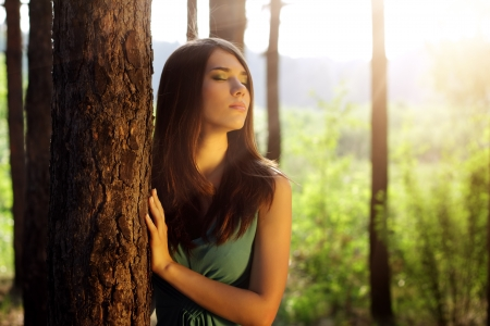 beautiful girl in fairy forest Stock Photo