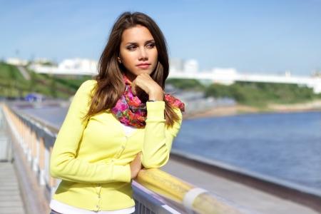 sexy teen girl: Portrait of a beautiful fashion girl  outdoor