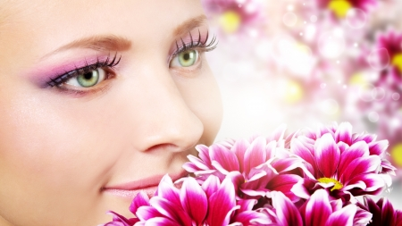Beauty face of woman with chrysanthemum photo