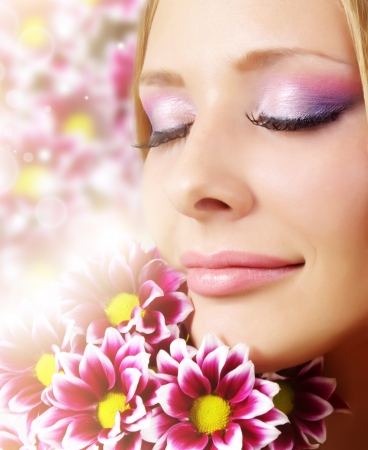 chamomile flower: Beauty face of woman with chrysanthemum Stock Photo