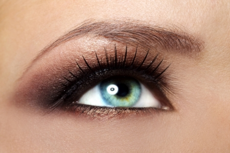 eyes open: Beautiful female eye Makeup  close-up Stock Photo