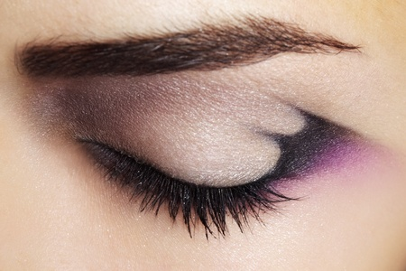 Purple Eye Makeup  Beautiful eye makeup close up photo