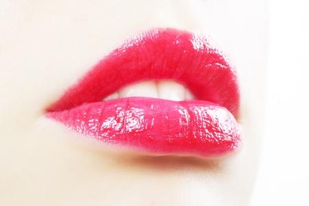 Beautiful red lips on light background