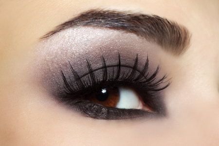 eye hole: Eye with black fashion make-up