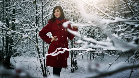 Beautiful elegant woman in red coat  winter nature photo