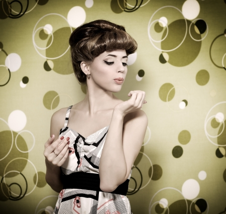 Retro style  Beautiful girl  green background
