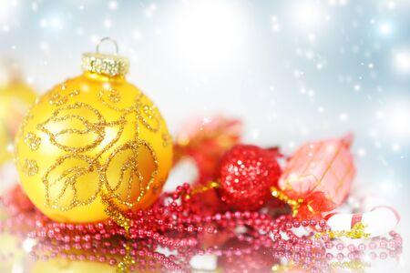 Christmas decoration  Christmas balls on blue background photo