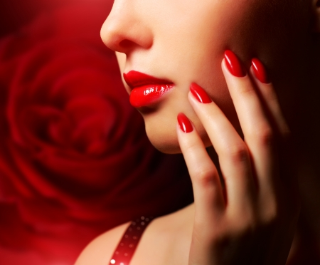 Makeup and manicure  Girl with beautiful make-up photo