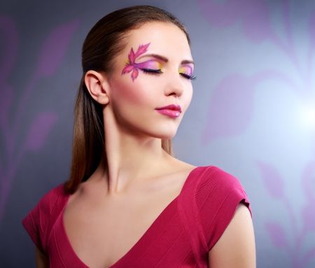 faceart: Girl with beautiful makeup   black background