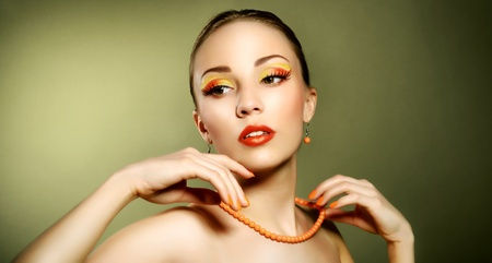 Sensual woman with beautiful make-up on light background Stock Photo - 19562162